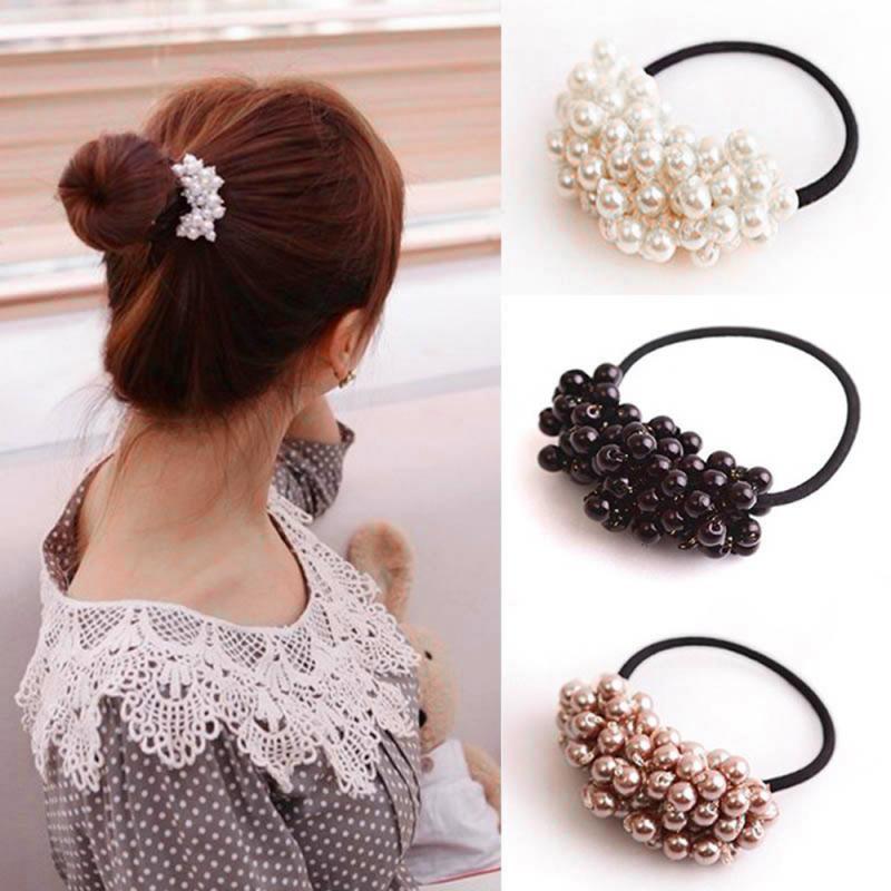 Pearl Headband Ponytail Girl Headband Retro Elastic Hair Band Hair Ring Head Hair Hair Accessories Hair Styling Hair Tools