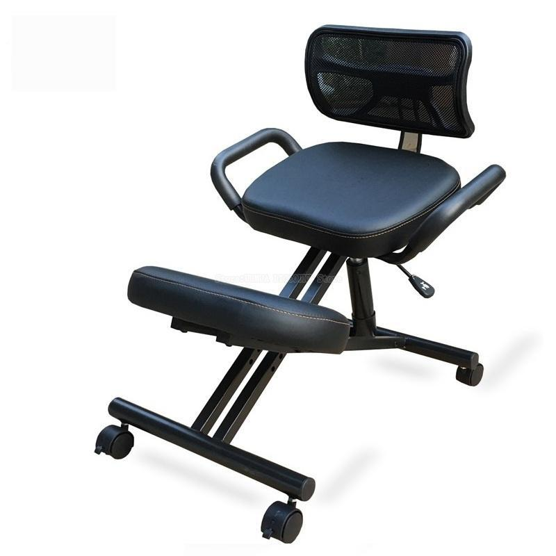 Designed Knee Chair with Back and Handle Office Kneeling Chair Ergonomic Posture Leather Black Chair With Caster