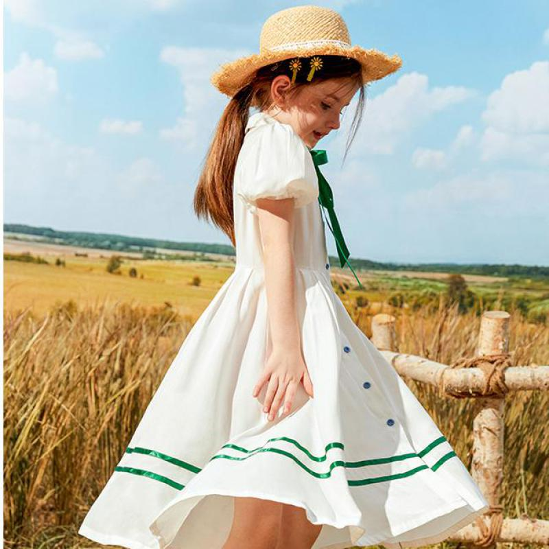 Новое Модное шифоновое платье в Корейском стиле с рукавами-фонариками и отложным воротником для девочек, платье с бантом на шнурках