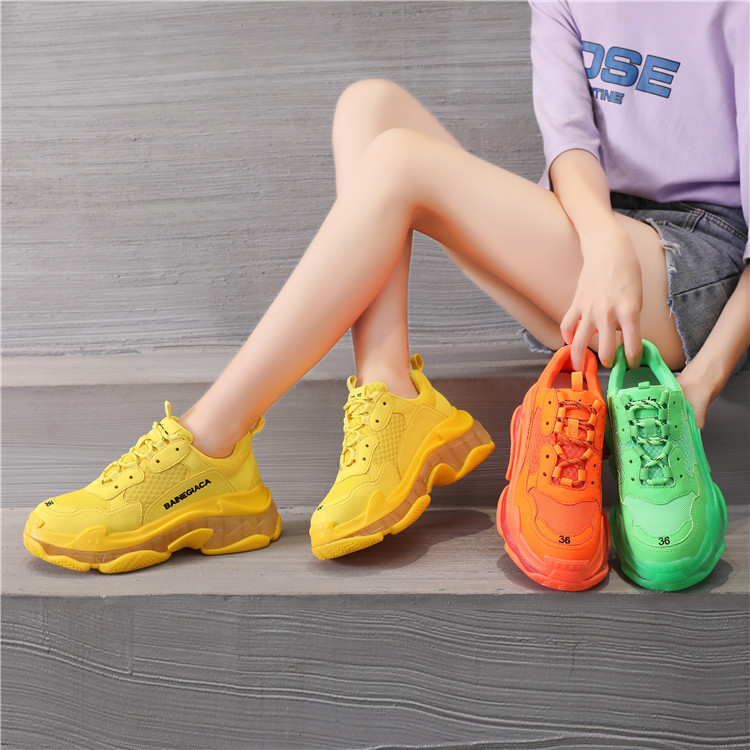 Womens Designer Shoes Crystal Tenis Feminino Chunky Sneakers Air Cushion Shoes Sneakers Chunky Shoes Woman Sneakers Yellow/green