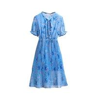New Fashionable Printing 6xl Plus Size Women Dress Summer Flowers Slimming Casual puff sleeve Chiffon Lady Women Clothing
