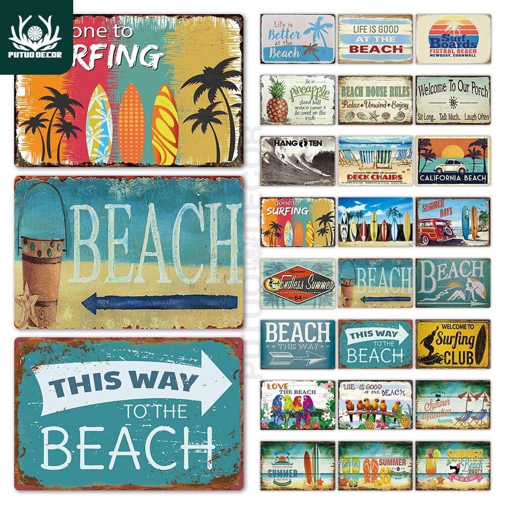 Beach Tin Sign Plaque Metal Vintage Summer Metal Wall Sign Beach Decor for Beach Bar Beach House Seaside Decorative Plate(China)