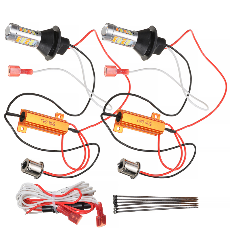 1156 <font><b>P21W</b></font> S25 BA15S 42LED Switchback White DRL <font><b>Amber</b></font> Light Daytime Running Light+Turn Signal Dual Mode DRL <font><b>LED</b></font> External Lights image