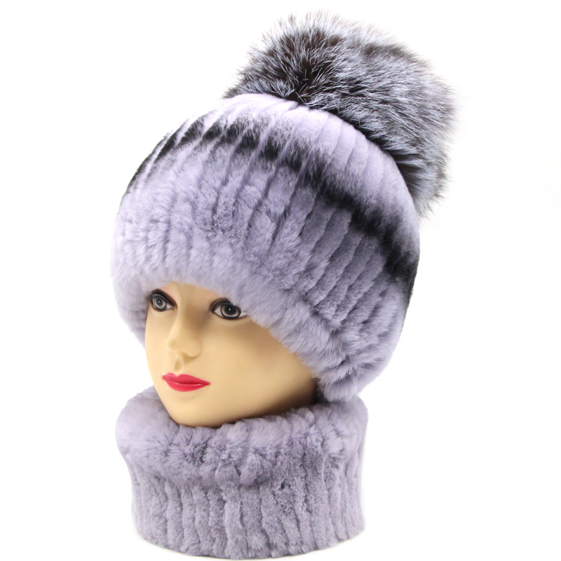 JKP 2019 New Real Rabbit Fur Hat Scarf Set For Women Temperament Winter Accessories Fox Fur Ball Cute Thicken Hat And Scarf