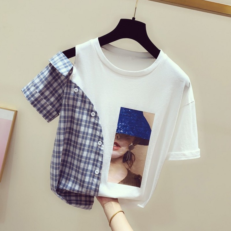 Faux Two-Piece Top Woman 2020 Spring Summer New Korean Style Plaid Shirt Round-Neck Short-Sleeve Off Shoulder T-shirt Tshirts T
