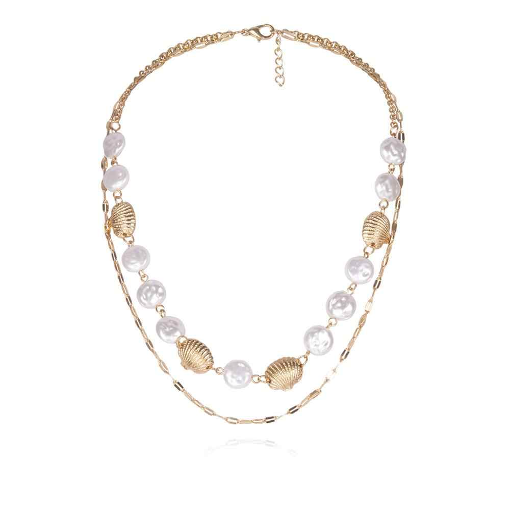 KMVEXO Boho Multi Layered Gold Shell Choker คอสร้อยคอ Statement Pearl จี้สร้อยคอผู้หญิงเครื่องประดับ 2019