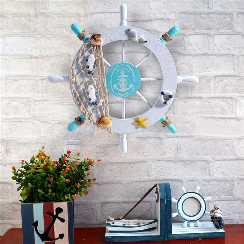 Mediterranean Style Ornaments Wooden Rudder Boat Ship Steering Wheel Fishing Net Shell Wall Decoration Home Decor