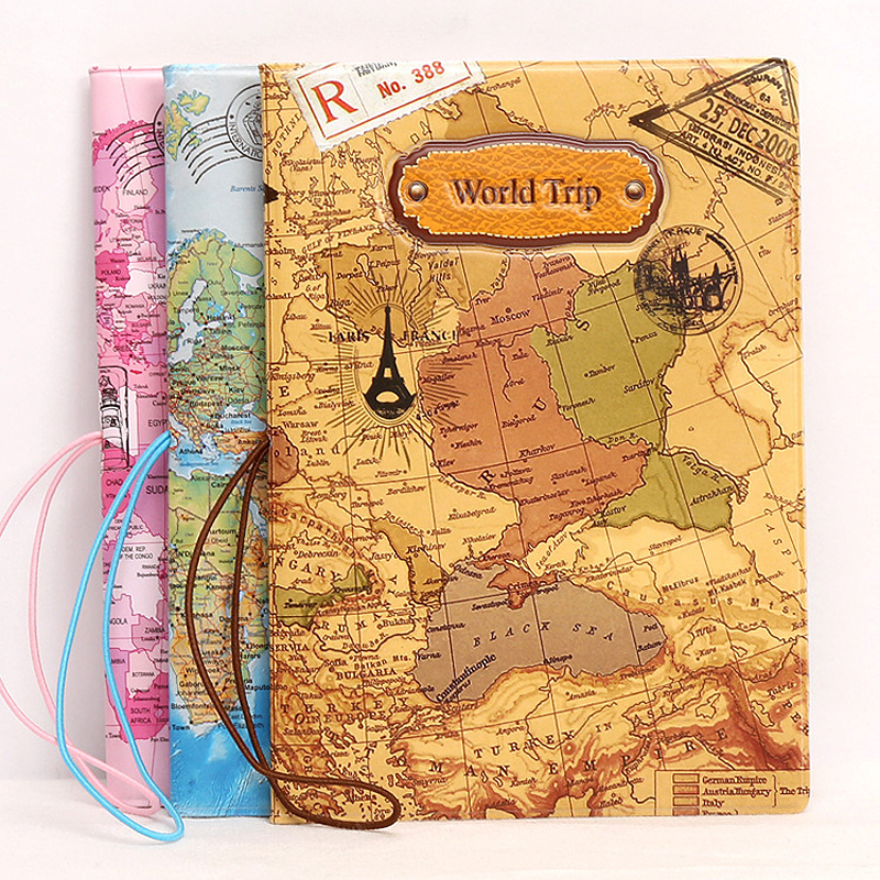 Creative Relief World Map Pattern Passport Cover Men Women ID Credit Card Holder Straps Prevent Loss Passport Protective Sleeve