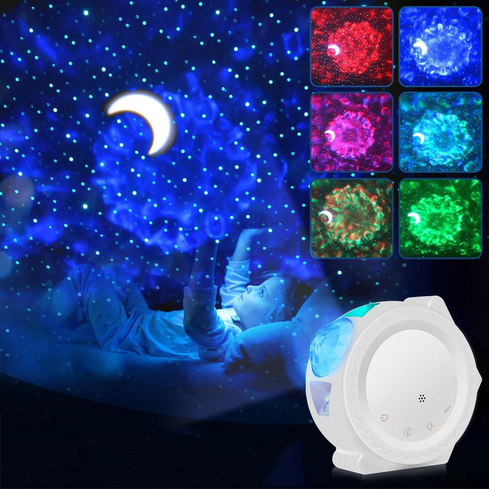 New Starry Sky Projector LED Nebula Cloud Night Light Multicolor Ocean Waving Lights 360 Degree Rotation NightLamp for Children