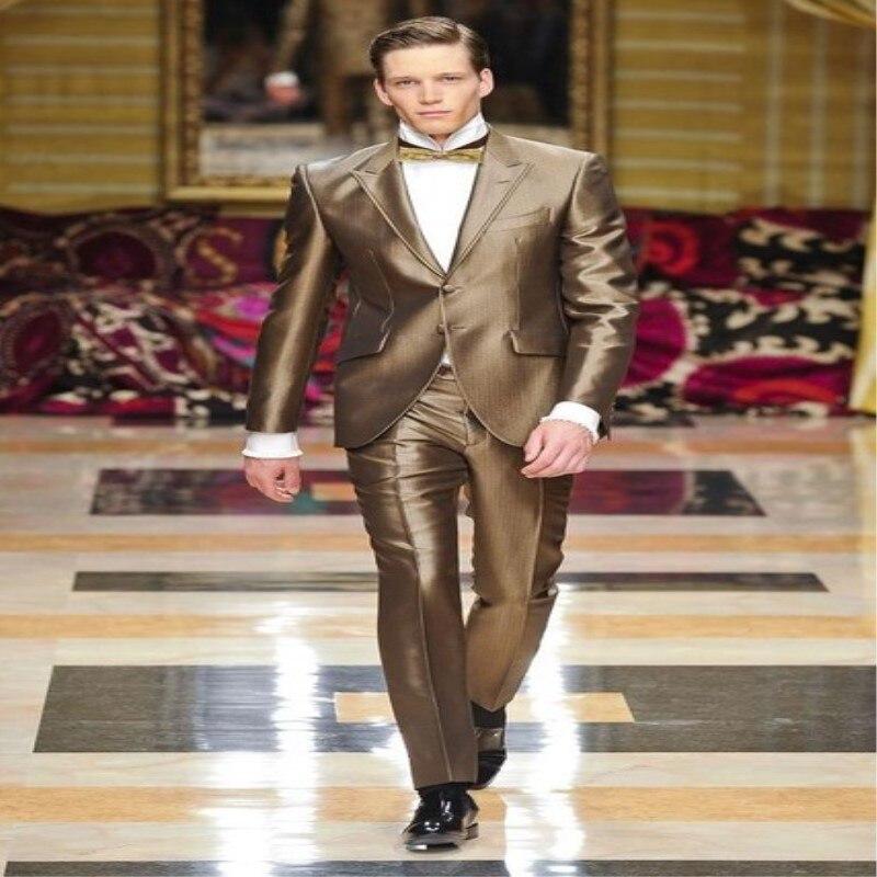 Latest Coat Pant Designs Gold Satin Suits For Men Formal Slim Fit Lighting Costume Custom Stage Men Tuxedo 2 Pieces Suit