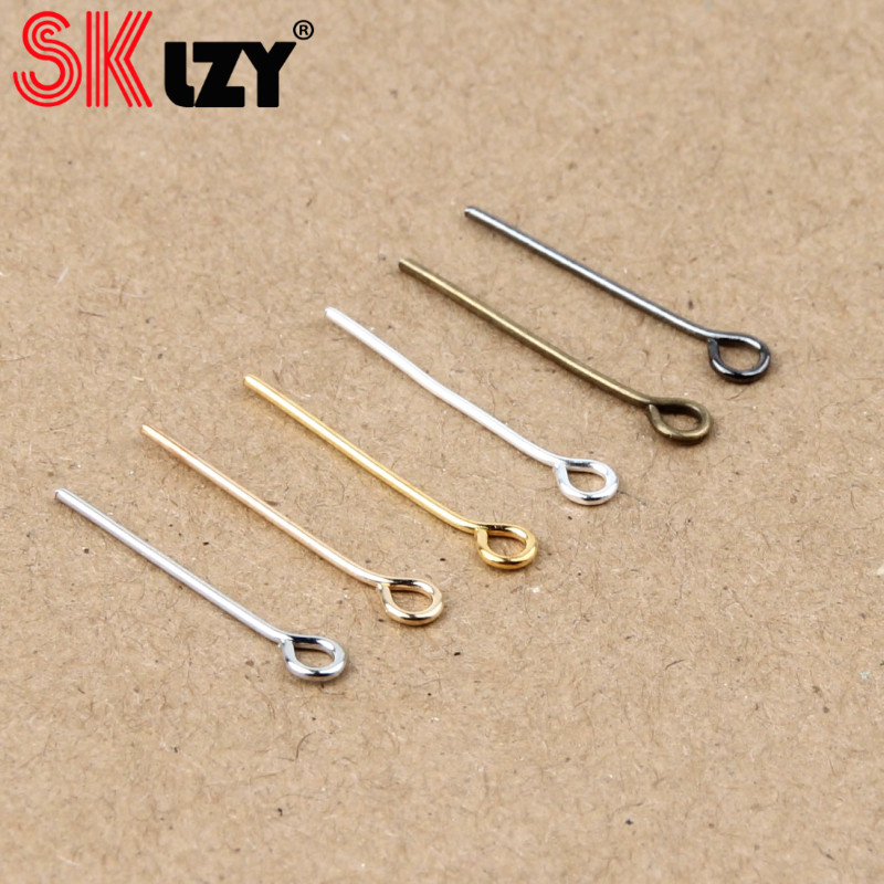 100 Silver plated Gold metal EYE PIN Eyepins findings 30mm x 0.7mm