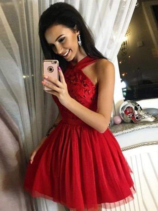 2020   Cocktail     Dress   A-Line/Princess Tulle Paillette Halter Sleeveless Short/Mini Homecoming   Dresses   for Party