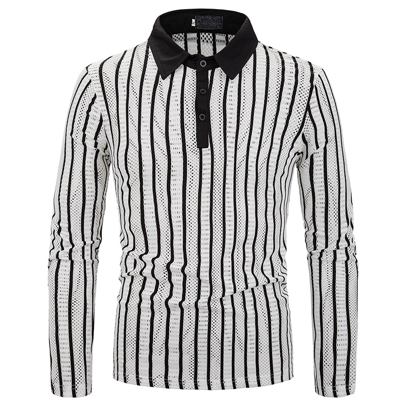 Men's Sexy Hollow Out Striped T <font><b>Shirt</b></font> 2019 Fashion Slim Fit Long Sleeve <font><b>Transparent</b></font> T-<font><b>shirt</b></font> Men Party Nightclub <font><b>Tee</b></font> <font><b>Shirt</b></font> <font><b>Homme</b></font> image