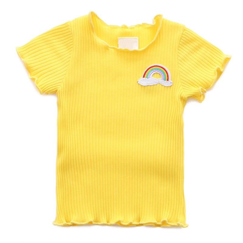 Girls T-Shirt Toddler Tops Newborn-Baby Kids Cotton Summer for Infant Solid 9-48M