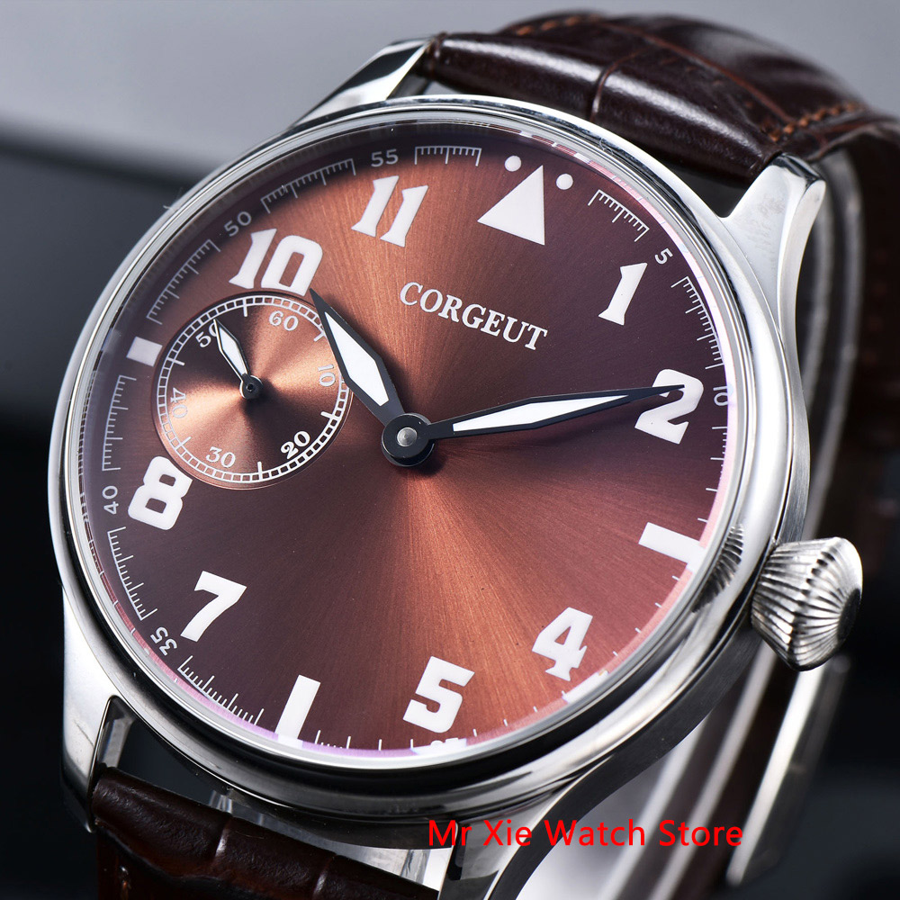Corgeut 44mm Watch Men 17 Jewels Hand Winding 6497 Movement Luminous Waterproof Mechanical Wristwatches Leather Strap