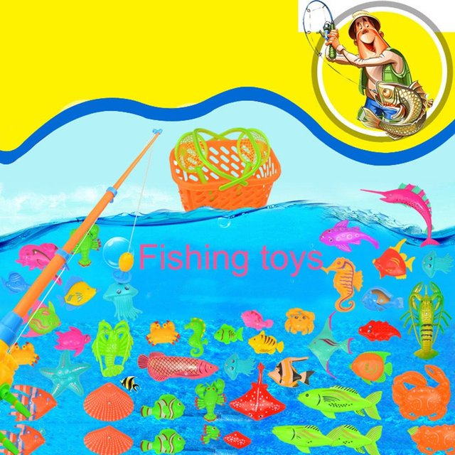 39Pcs Set Plastic Magnetic Fishing Toys Baby Bath Toy Fishing Game 1 poor 2 Poles 2 Nets 35 Magnet Fish Indoor Outdoor Fun Baby 4