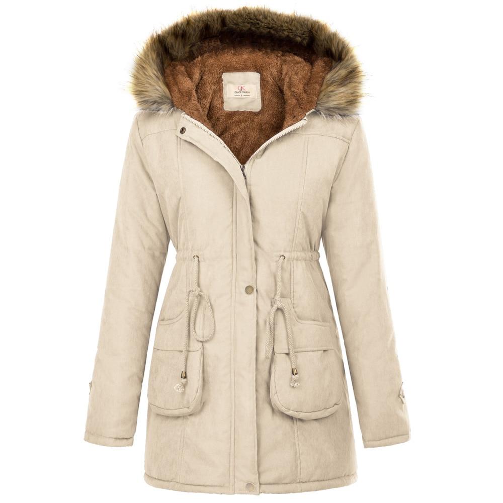 Femmes chaud Long manteau fourrure col à capuche veste Slim hiver parka nouveau
