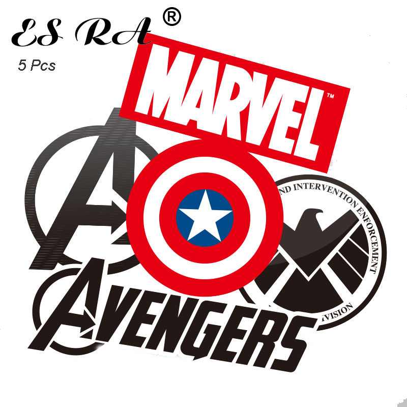5 Pcs Big Size Laptop  Stickers Sets Marvel Logo Waterproof PVC Luggage Decorate Avenger  E. L. D.   Pitcher Skateboard Pegatina