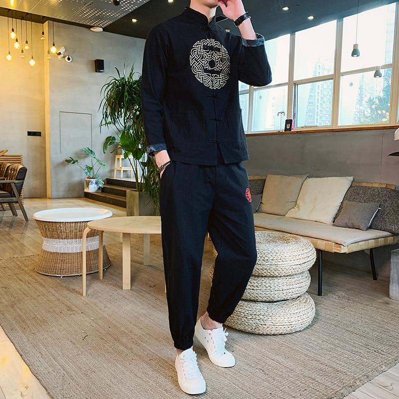 Tracksuit Male Tracksuit M-5XL Moda Hombre Heren Kleding 2020 Men Set Embroidery Man Sport 2 Piece Set Sport Suit Jacket+Pant