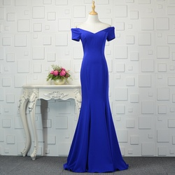 Cheap Real Photo Evening Dresses Mermaid Royal Blue Long Party Prom Gowns Sexy Off Shoulder Satin Floor Length ZD1030