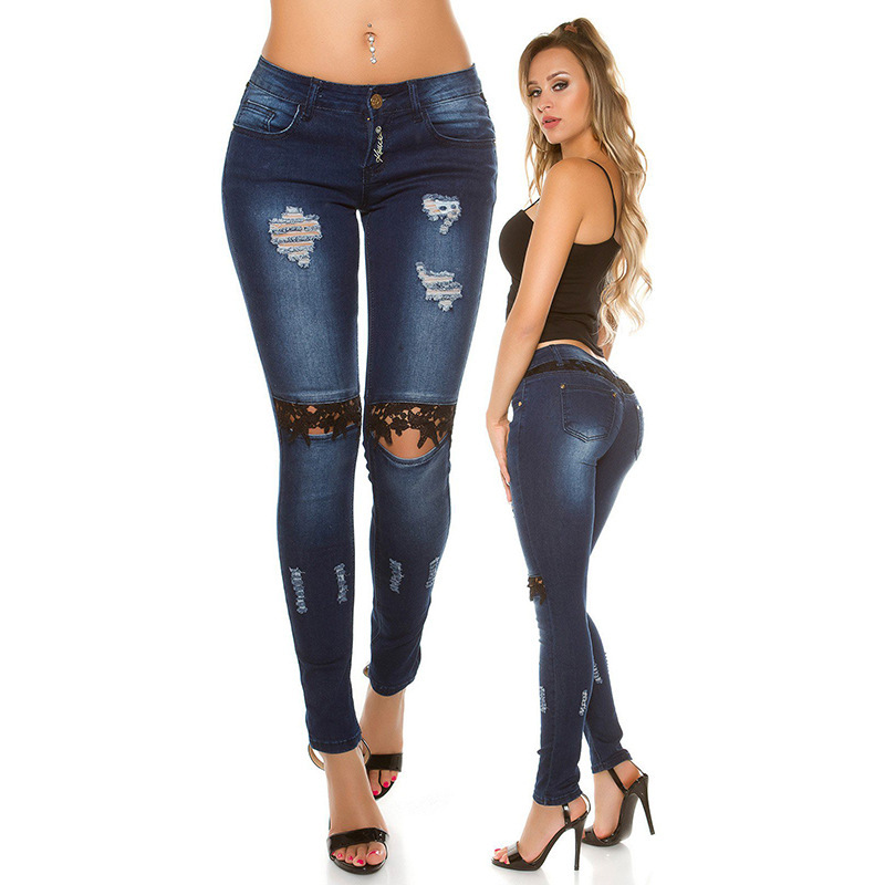 European And American-Style Hot Selling New Style Sexy Lace With Holes Jeans Women's Fa8k042d