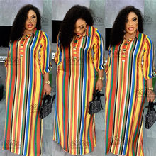 Robe de soirée traditionnelle africaine en mousseline de soie, ample et longue, Dashiki, nouvelle mode, col chemise, pour femmes (CPXF04)