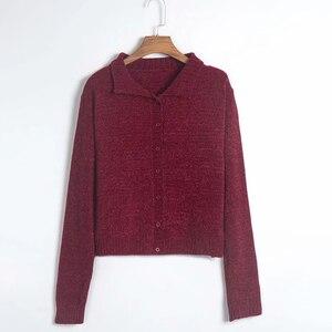 Image 5 - Harajuku/Винтажный вязаный кардиган для девочек, свитер 2019, осенний свитер с отложным воротником, Повседневная Свободная мягкая уютная одежда для женщин