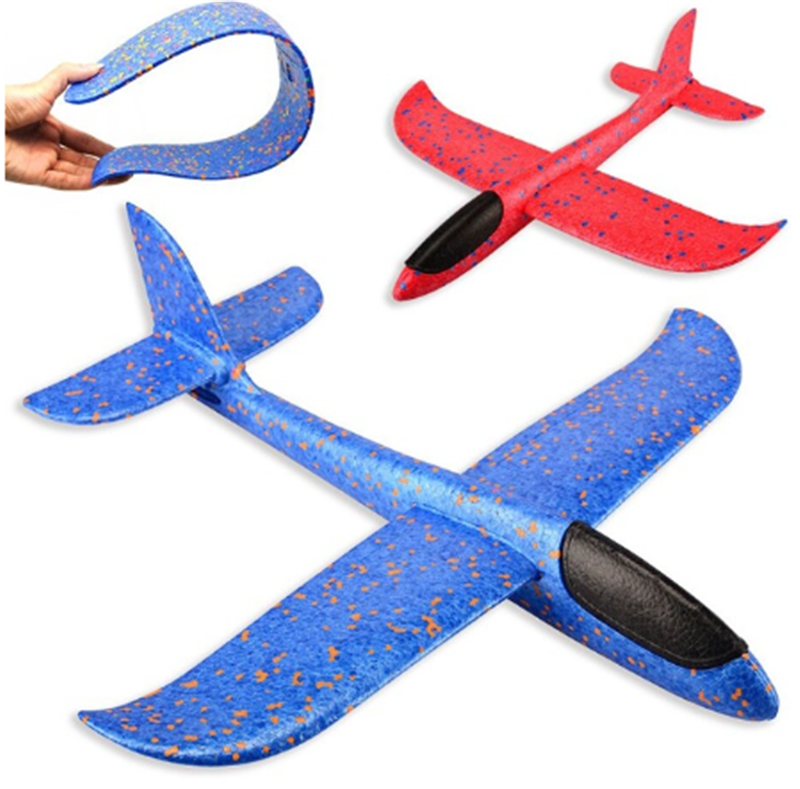 DIY Children's Hand Throwing Flying Toy Large Glider Aircraft Foam Plastic Airplane Model Toy Sturdy Kid's Games Boy's Gift 2020