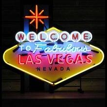 Letrero de neón de Las Vegas, luz de cristal de 10kv, arte de pared, luz de neón, decoración de habitación, lámpara de colores en el interior