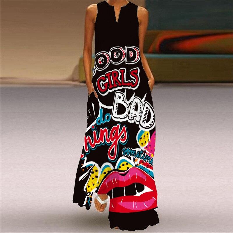 MOVOKAKA 2021 White Long Dress Women Mouth Print Vintage Sleeveless Elegant Dress Casual Plus Size Vestidos Girls Dresses Summer 26