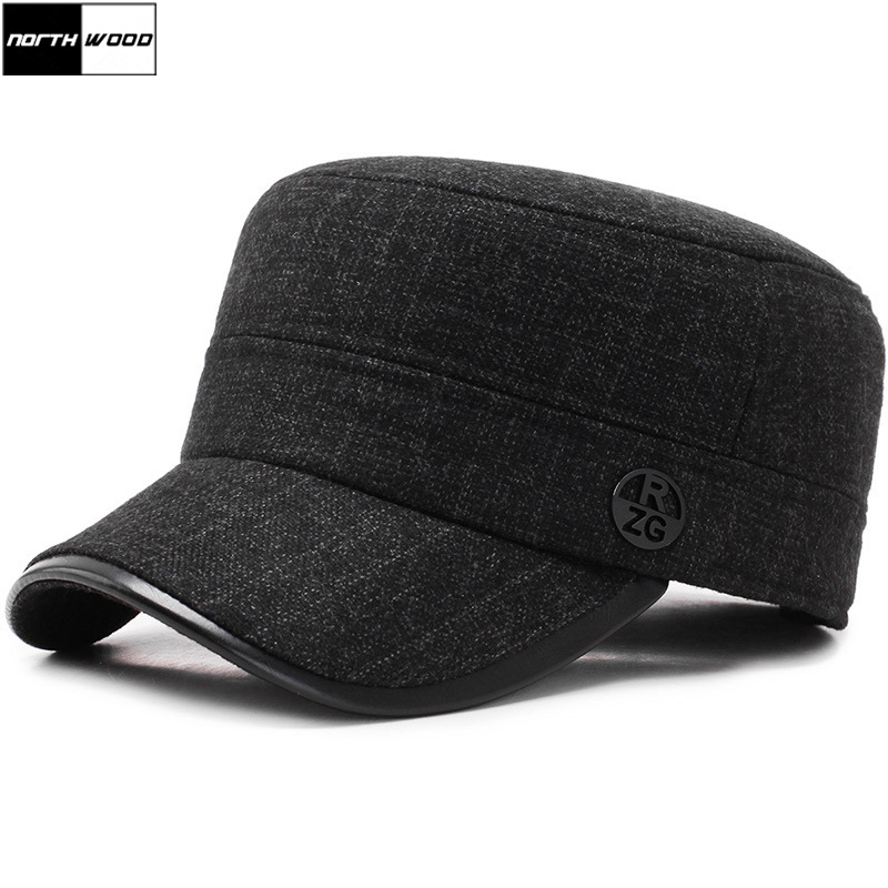 [NORTHWOOD]  Brand Winter Military Hat Thicken Flat Top Caps Men's Hats Cotton Army Cap With Earflaps Outdoor Bone Casquette