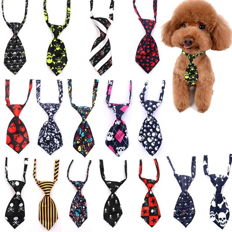 30/50pcs Pet Tie Pet Dog Puppy Necktie Tie Skull Ties Collar Grooming Dog Bow Tie Adjustable Pet Puppy Bowtie Accessories