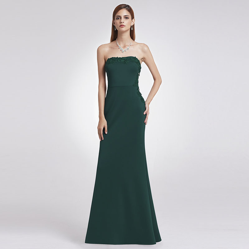 Evening Dresses Formal-Gown Sheath Strapless Floor-Length Sleeveless Appliques Cheap Long Prom Dresses