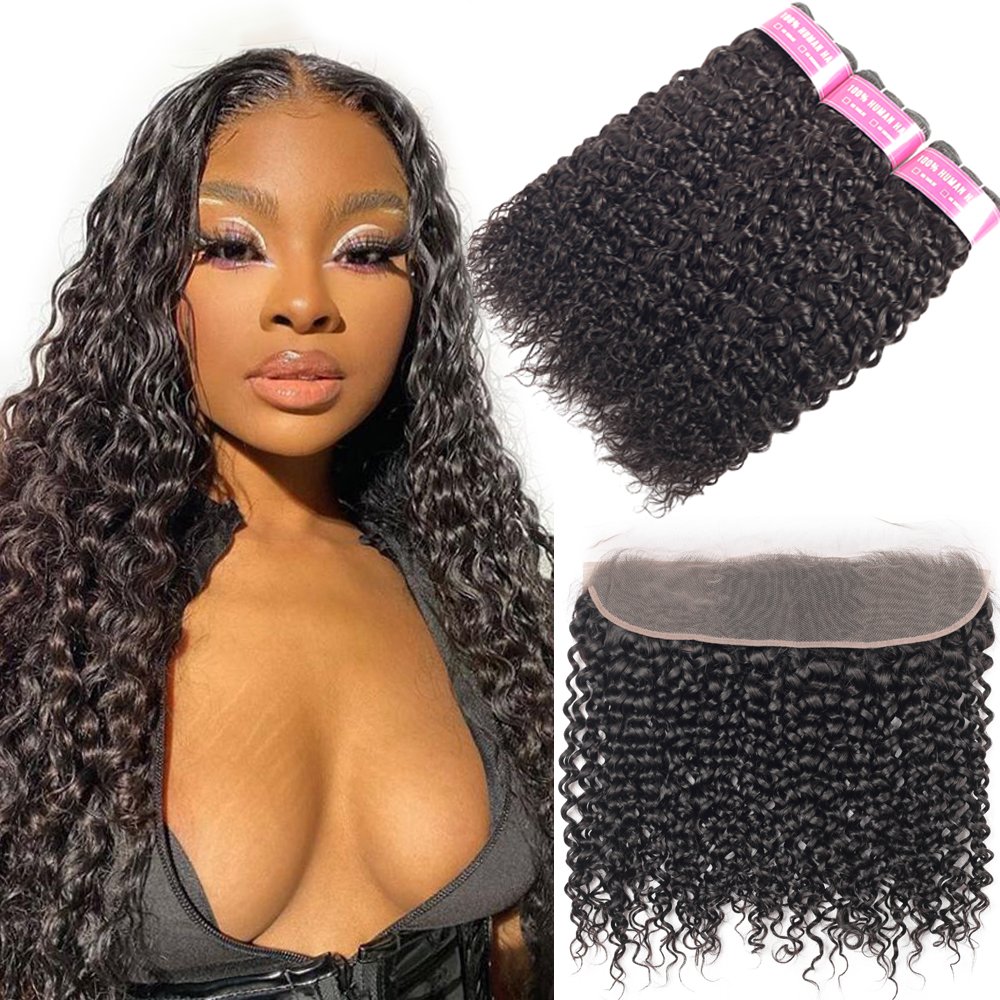 BEAUDIVA Hair Brazilian Water Wave Bundles With Frontal Remy Human Hair Bundles With Closure Lace Frontal With Bundle