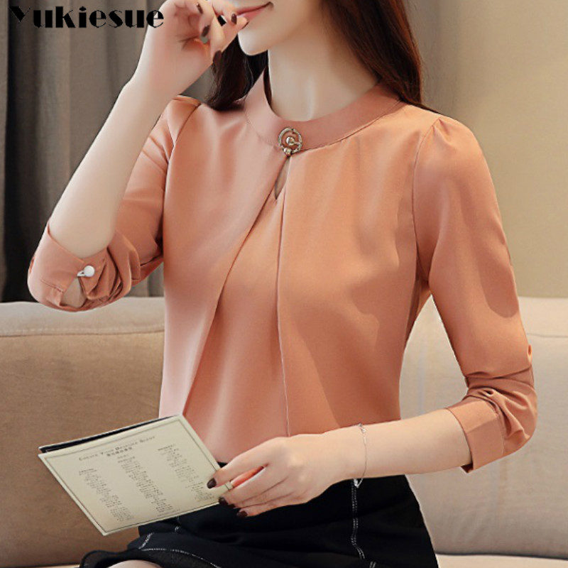 Moda mulher blusas 2020 manga comprida chiffon blusa camisa de manga comprida camisas femininas blusas e blusas femininas