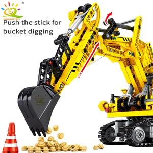 Image 3 - Huiqibao 841 peças escavadora de esteiras blocos de construção técnica cidade engenharia construção tijolos brinquedos para crianças menino presente