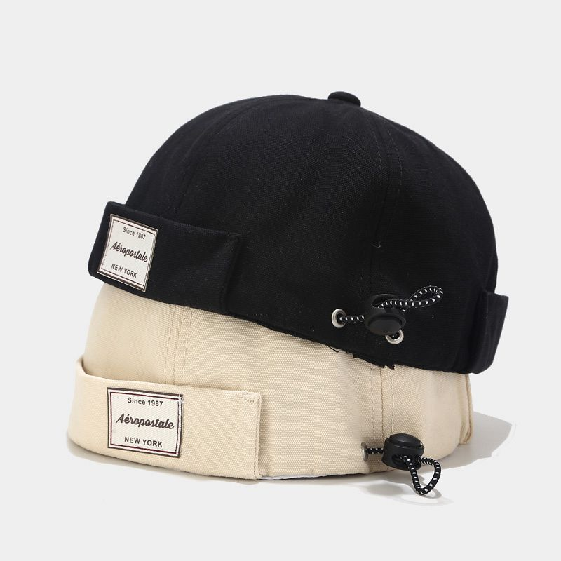 Mens Black Skull Cap Sailor Cap Landlord Sailorcap Rolled Cuff Brimless Hat KS