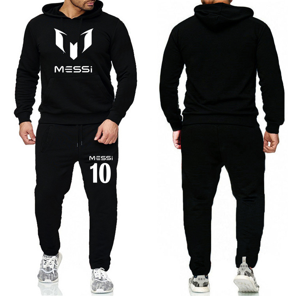 2019 New Style Men's Fashion Casual Hoodie Messi Messi Fleece Hoodie Sports Set