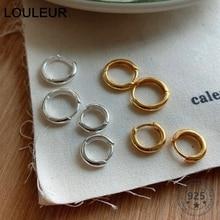LouLeur 925 Sterling Silver 10mm/15mm Glossy Hoop Earrings Elegant Nordic Round Minimalist Earrings For Women Charm Jewelry 2020