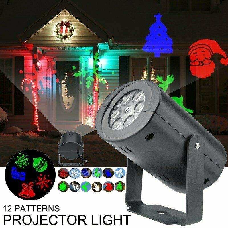 US/EU Plug Christmas Projector Lights RGB 12 Patterns LED Lamp Lighting Sparkling Snowflake Landscape Outdoor Waterproof Lights