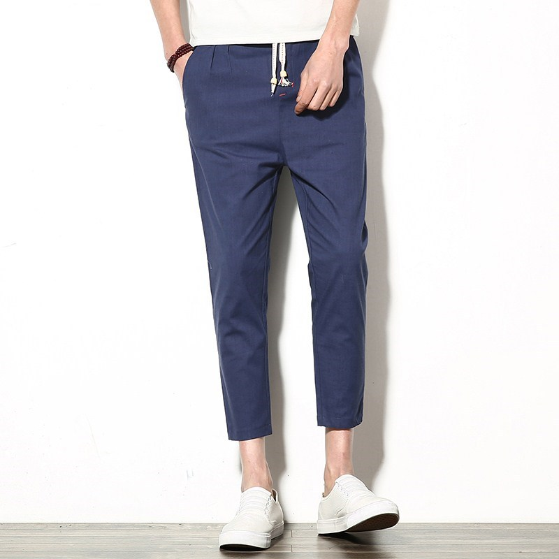 Spring New Style Linen Pants Men Slim Fit Pants Capri Pants Men's Casual Harem Pants Elasticity Cotton Linen Athletic Pants Fash