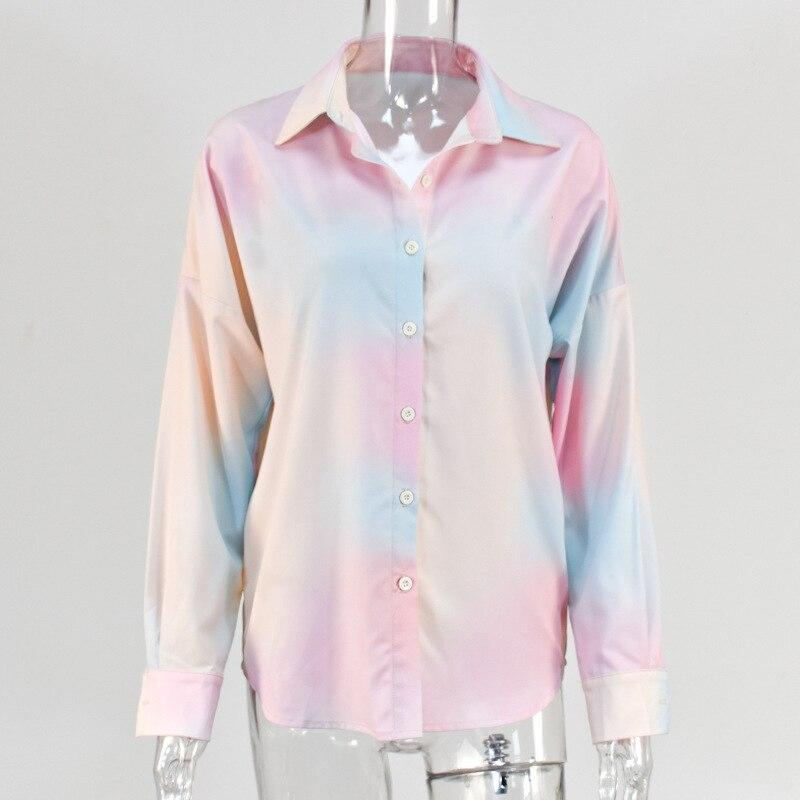 Women Summer  Buttons Up Contrast Tie Dye Print Sun Blouse Streetwear Harajuku Top Loose Shirt Turn Down Collar Vintage Blusas