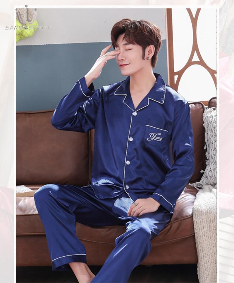 SAMWESTART Men's Stain Silk Pajama Sets Atumn Spring Men Pajamas Nightwear Men Sexy Modern Cardigan Style Solid Color Sleepwear