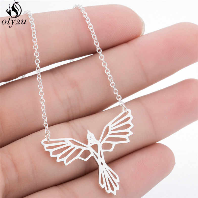 Oly2u Punk Origami Long Chain Phoenix Pendant Necklace Women Fashion Jewelry Vintage Animal Necklaces Choker Friend Gift
