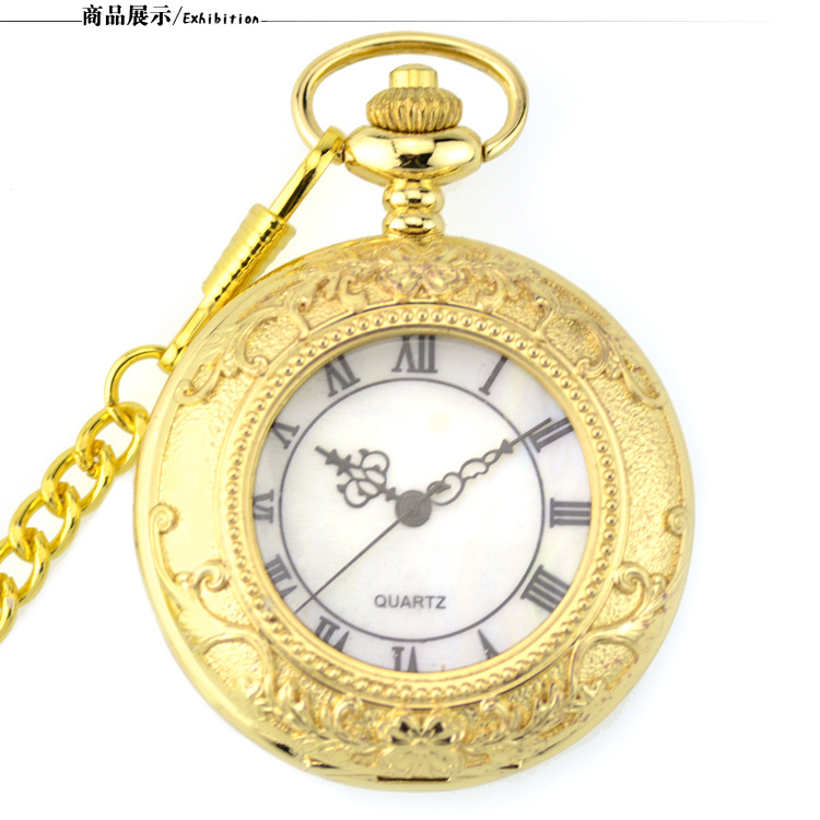 2019 Classic Gold Pocket Watch Vintage Quartz Necklace Pendant Chain Fashion Pocket Watches Men Women Gift
