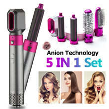 5 In1 Hair Dryer Comb One Step Multi Functional Hair Curling Styling Straightener Curler Electric Air Iron Wand Brush