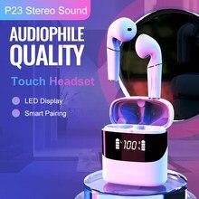 PJD TWS słuchawki Bluetooth słuchawki bezprzewodowe MiniPods 3D Stereo dźwięk słuchawki LED wyświetlacz z mikrofonem dla Xiaomi iPhone