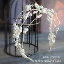 Le Liin жемчужная повязка на голову для невесты ручной работы головной убор 3 ряда свадебная лампа