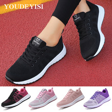 Women Shoes Flats Lace-Up Zapatillas-De-Deporte Female Breathable Casual Mujer Mesh Para