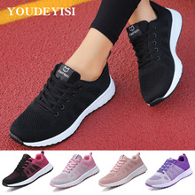 Women Shoes Flats Lace-Up Female Breathable Casual Mujer Mesh Zapatillas-De-Deporte Para